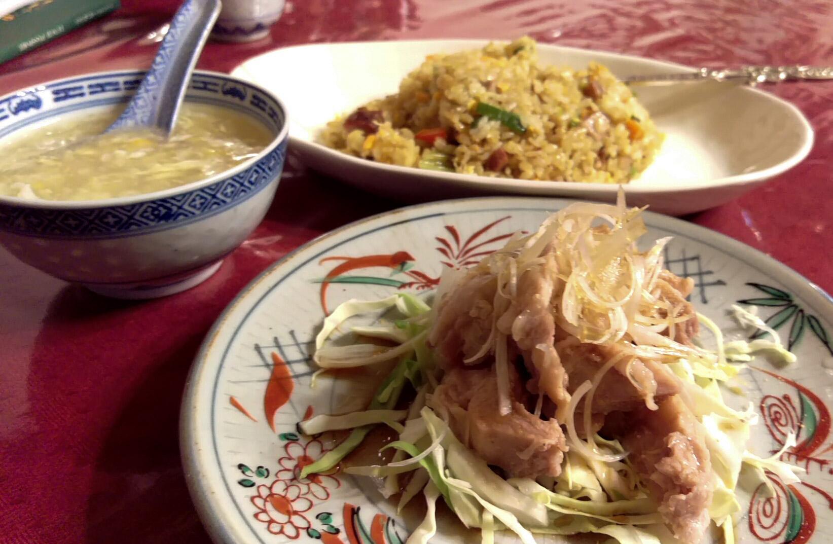 カレーチャーハンと蒸し鶏 日替わりスープのセット@紅宝石さん