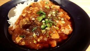 普通のカレー皿くらいの大きさのお皿に盛られた麻婆丼(ご飯少なめ)@蜀さん