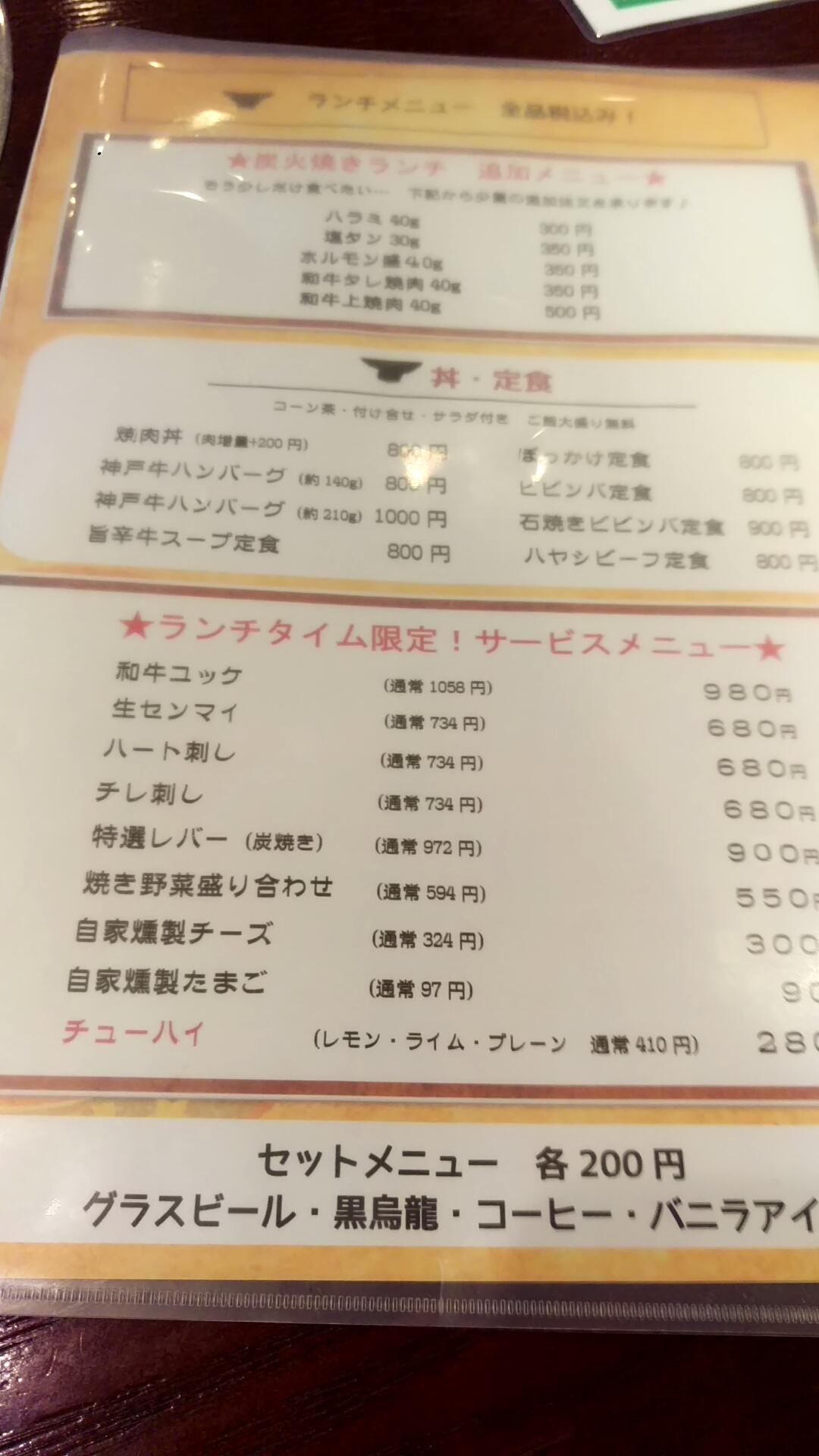 ランチメニュー うら 肉が追加できる!!