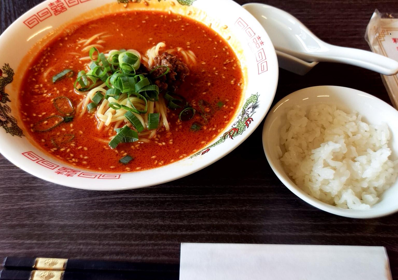 担担麺とごはん(ちょっと)@江湖菜さん 胡麻のきいた担担麺!